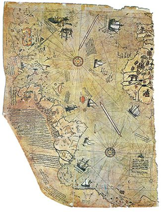 Surviving Fragments of The First World Map of Piri-Flight (1513)